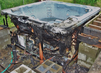 Rats chewing on wires caused this hot tub fire